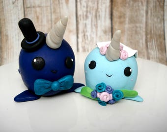 Narwhal Cake Topper , Bride and Groom Wedding Cake Topper , Quirky Wedding Decor , Narwhal Bride and Groom , Beach Wedding Cake Topper