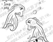 Digital Stamp Instant Download Whimsical Goldfish & Bubbles ~ Fishies  Image No. 410 by Lizzy Love