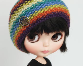 Beret with stripes - knitted hat for Blythe dolls