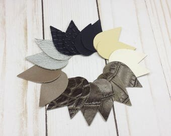 Leather Pieces, Small Leather Shapes for Earrings and Jewelry, 18 Pieces, Leather Cut Out Shapes