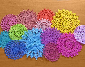 13 Rainbow Hand Dyed Vintage Crochet Doilies, 2.5 to 4 inch Small Craft Doilies, Colorful Doilies, Crochet Medallions, Mandalas