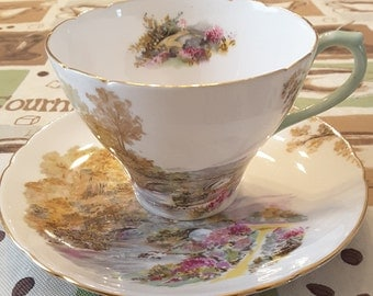 "Shelley Tea Cup and Saucer; Titled ""Heather"" circa 1945-1966-  DR"