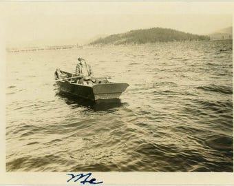 "Vintage Photo ""Me and the Lake"" Snapshot Antique Black & White Photograph Found Paper Ephemera Vernacular Interior Design Mood - 59"