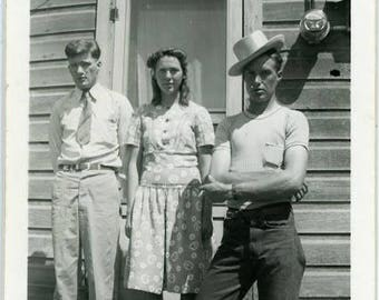 "Vintage Photo ""My Odd Neighbors"" Snapshot Antique Black & White Photograph Found Paper Ephemera Vernacular Interior Design Mood - 23"
