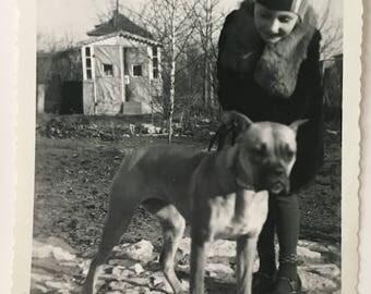 "Vintage Photo ""Samantha and Spud"" Snapshot Antique Black & White Photograph Paper Found Ephemera Vernacular Interior Design Mood - 99"