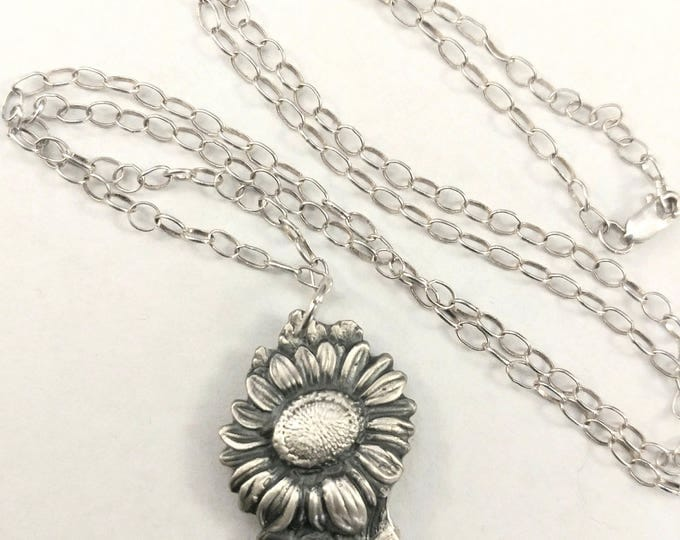 Sunflower Necklace, Flower Spoon Necklace, 925 Sterling Silver Sunflower Pendant, Botanical Jewelry, Nature Inspired Gift for Her (P6812)