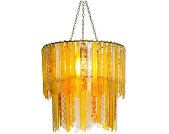 Wallflower Chandelier – Large double Glass Chandelier - Yellow Chandelier - Glass Lighting - Pendant Light - Light Fixture - Decor