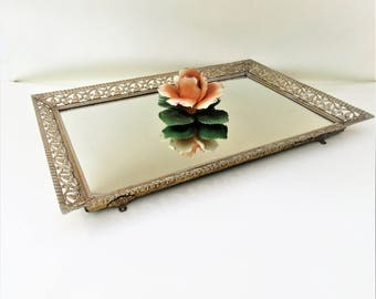Vintage Mirrored Vanity Tray | Brass Tray | Perfume Organizer | Gold Frame Mirror | Brass Filigree