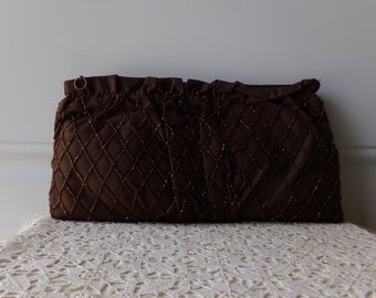 Chocolate Brown Clutch - Vintage Clutch, Vintage Glamour, Collectible, 50 to 75 Years Old, Mother of the Bride, Mother of the Groom
