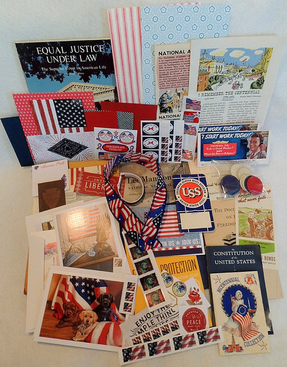 Large Vintage Ephemera Paper Lot Patriotic America Scrap Book Art Journal.. Red, White & Blue July 4  (#1)