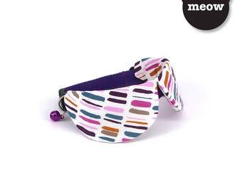 GOOOD Cat Collar   Dapper Round - Streaky Chic  100% Pink & Purple Cotton Fabric   Safety Breakaway Buckle