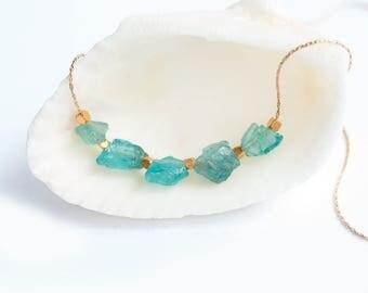 Raw Apatite Necklace - Gemstone Necklace - Raw Aqua Stone Bar Necklace - Raw Stone Necklace - Layering Necklace - Boho Chic Necklace