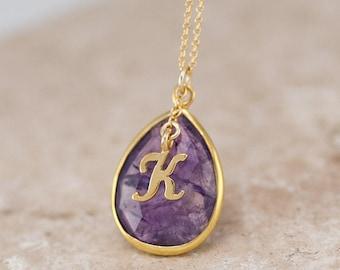Purple Amethyst Necklace, Custom February Birthstone Gift, Gold Initial Necklace, Gold Framed Gemstone Pendant, Monogram Name Necklace Gift