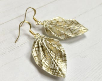 Origami Leaf Earrings // Gold and Ivory