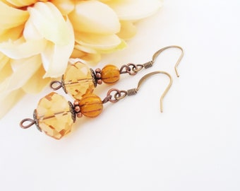 Champagne Earrings Crystal Earrings, Bronze Earrings, Copper Anniversary Gift for Wife, Bridesmaids Gift, Boho Bridal Earrings, Best Sellers
