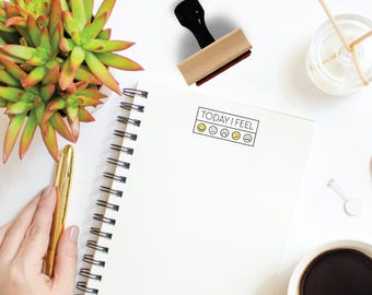 Today I Feel w/ Emojis Stamp | Minimal Mood Tracker Journal Stamp | Gift for Planners + Calendars | Rubber Stamp by Creatiate | BJ1