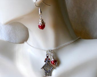 "Bird House Necklace & Red Glass Bead Earring Set-19"" 2""Ext. SP Snake Chain-Ready to Ship Free US Domestic"