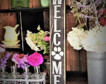 READY TO SHIP Welcome Paw Print Distressed Wood Sign