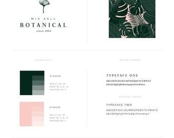 Premade Branding Kit — Tropical Logo Design — Branding Package — Leaf Logo — Herbal Business Branding — Logo Set & Style Guide // Botanical