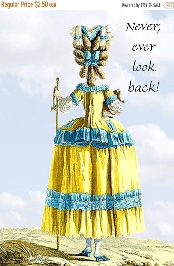 Marie Antoinette. Marie Antoinette Postcard. Marie Antoinette Card. Marie Antoinette Wig. Quote. Postcard. Card. Affirmation. Blue. Yellow.