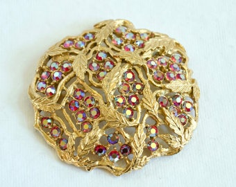 Vintage Sarah Covington Brooch - Gold Tone with Bright Red Pink Iridescent Rhinestones - Leaves