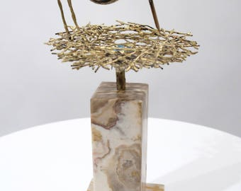 "C. Jere ""Nesting Bird"" Sculpture on Onyx Base 1970 RARE!"