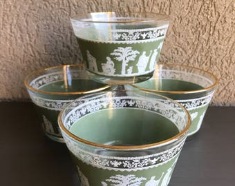 Hellenic Green Jeanette Sherbet Dishes Vintage Glass Dessert Dish Ice Cream Cup Set 4 - #A2517