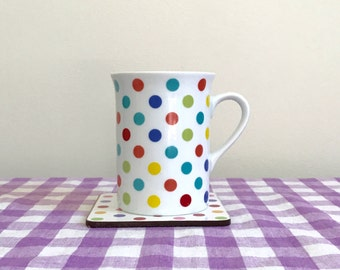 new-in-box 1990s teatime polka dot mug and coaster set