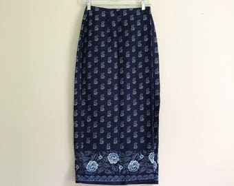 vintage blue rose Brooks Brothers cotton pencil wrap skirt - size small