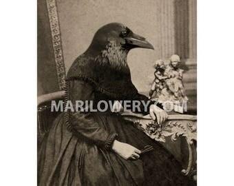 Raven Art Print, Halloween Decor, Gothic Wall Decor, 5x7 Inch Print, Anthropomorphic Bird Art
