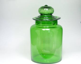 Reserved Laura Large Vintage Green Glass Apothecary Jar Ground Stopper, Green Apothecary Jar, Large General Store Lidded Jar
