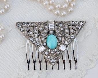 1920s Aqua Blue Paste Rhinestone Dress Clip to OOAK Bridal Hair Comb,Heirloom,Aquamarine Moonstone,Crystal,Baguette,OOAK,Wedding,Bridal Comb