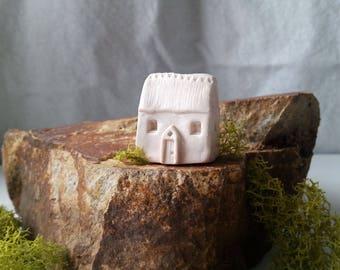 miniature house tiny house all white porcelain house recessed windows elaborate entrance chimney fairytale enchanted garden terrarium decor