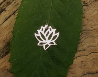 Lotus Charm - Sterling Silver - 15mm - Sold Per Piece