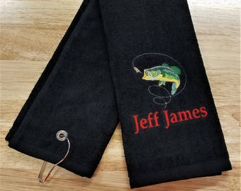 Fishing Towel Fish Towel Tri-Fold Personalized Monogrammed Mens Gift Father's Day Birthday