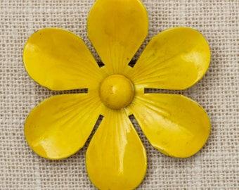 Yellow Flower Brooch Vintage Enamel Broach Vtg Pin 7T