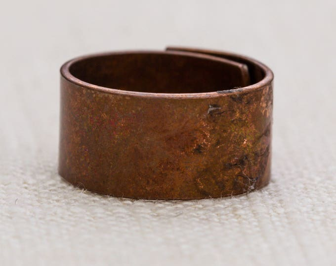 Simple Copper Vintage Ring Plain Cut Thick Band Adjustable 10mm Wide 7RI