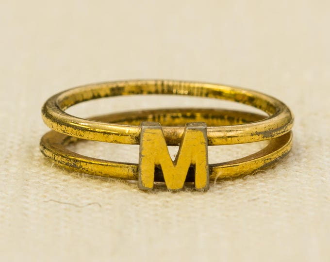 Letter M Vintage Ring Gold Dainty Double Band Avon Brand US Womens Size 6.5 7RI