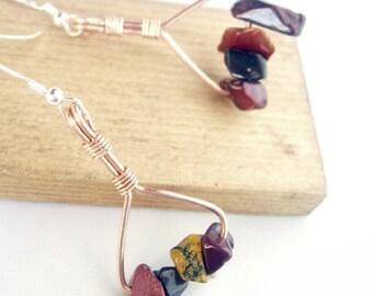 Copper Gemstone Earrings, Mookiate, Sterling Silver Ear Wires
