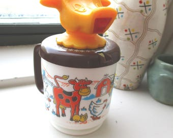 Vintage Plastic MOO COW Creamer/ Sippy Cup Mug Whirley Industries