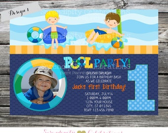 Pool Birthday Invitation, Pool Party Invitation, Splish Splash, Under the Sea Invitation, photo invitation, Pool Party, Pool Bash, Swimming