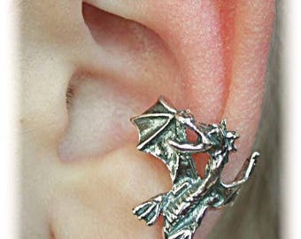 Dragon Ear Cuff - Sterling Silver or Gold Vermeil - SINGLE SIDE or PAIR