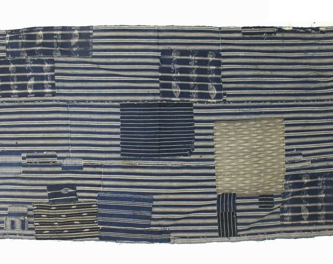 Antique Japanese Boro. Hand Woven Cotton Fabric. Hand Stitched and Patched Folk Textile. Natural Indigo Striped Ikat.  (Ref: 1872)
