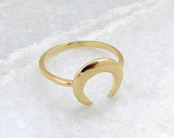 Moon Ring - Gold Filled Ring, Gold Moon Ring, Gold Horn Ring, Crescent Ring, Trending Now, Stacking Ring, Skinny Ring, Thin Ring, Unique