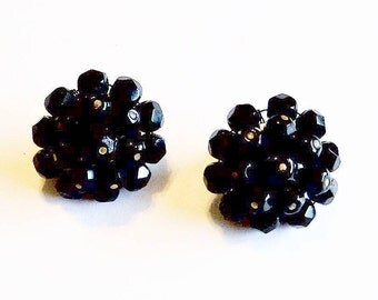 Earrings Black Glass Beads Clip On Backs Vintage Wedding Jewelry Jewellery Cluster Earrings Gift Guide Women Mid Century Cottage Chic