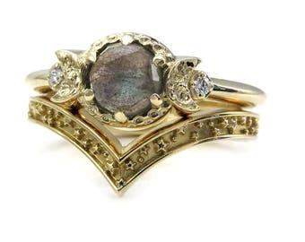 Labradorite Boho Moon and Star Engagement Ring Set - 14k Gold with Diamonds
