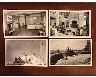 Set of 4 Black and White Timberline Lodge Sawyers Postcards