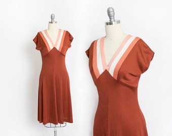 Vintage 1970s Dress - Copper Rust Knit Poly Color Blocked Sleeveless A-Line Day Dress - Small