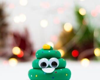Cute Christmas Tree Poop Emoji Ornament - Hand Painted in USA