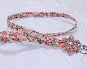 Lanyard - Id Badge Holder - Id Holder - Key Lanyard - Teacher Lanyard - Fabric Lanyard - Keychain - Floral Lanayard